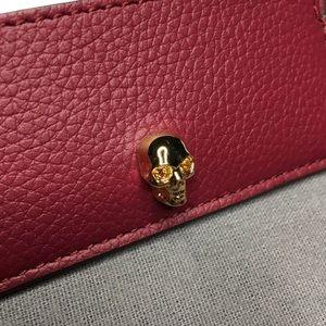Alexander McQueen Skull Card Case Holder Burgundy